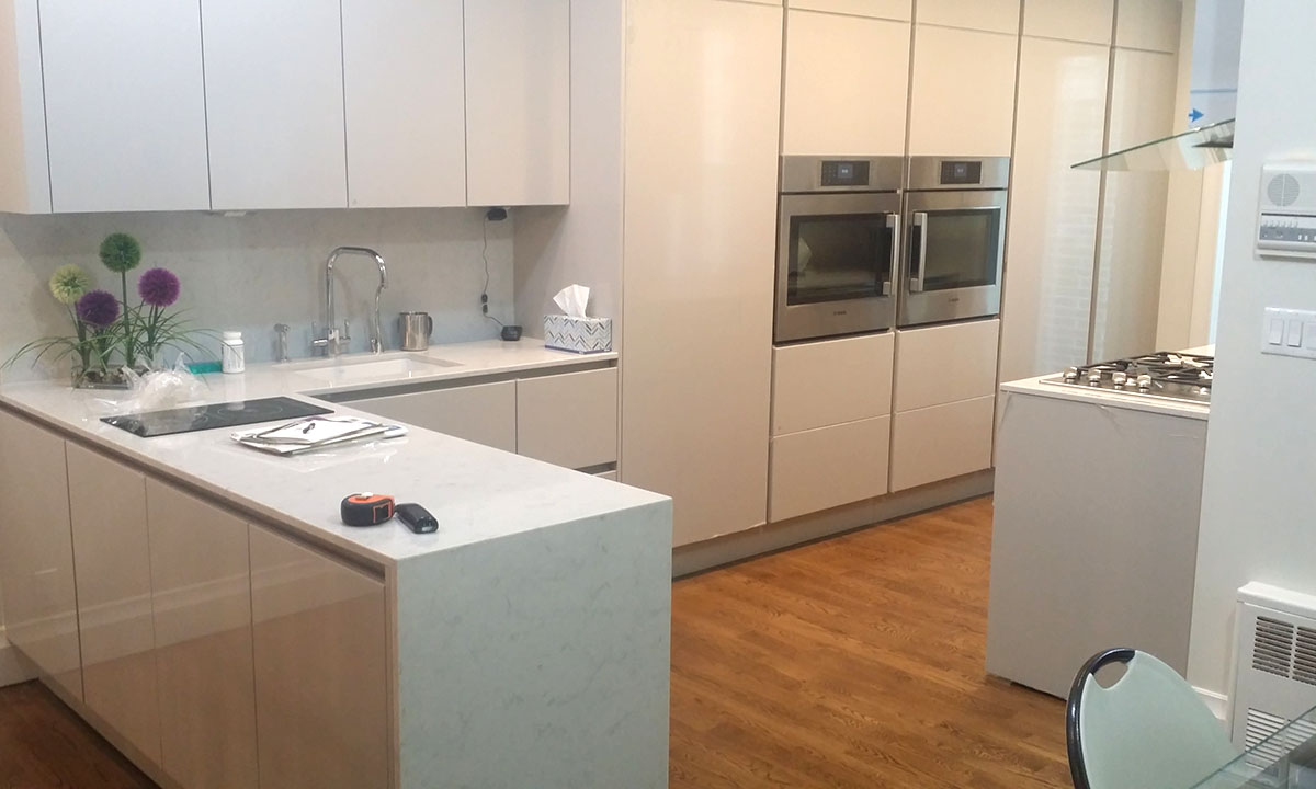 Modern White High Gloss Lacquer and Marble Custom Kitchen
