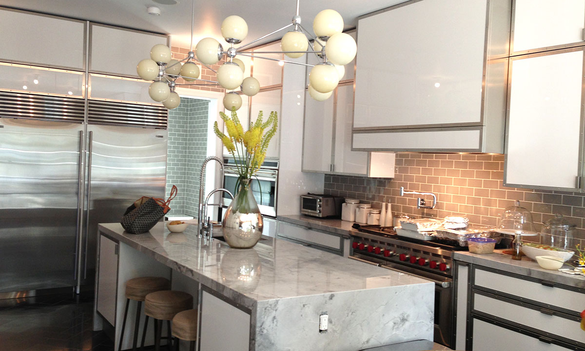 Modern High Gloss Lacquer, Metal and Marble Custom Kitchen