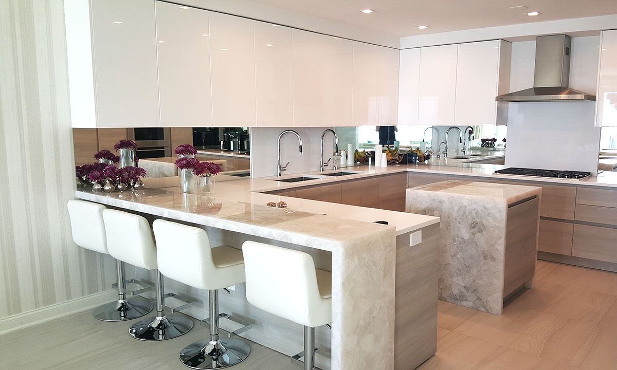 Modern White Marble Custom Kitchen